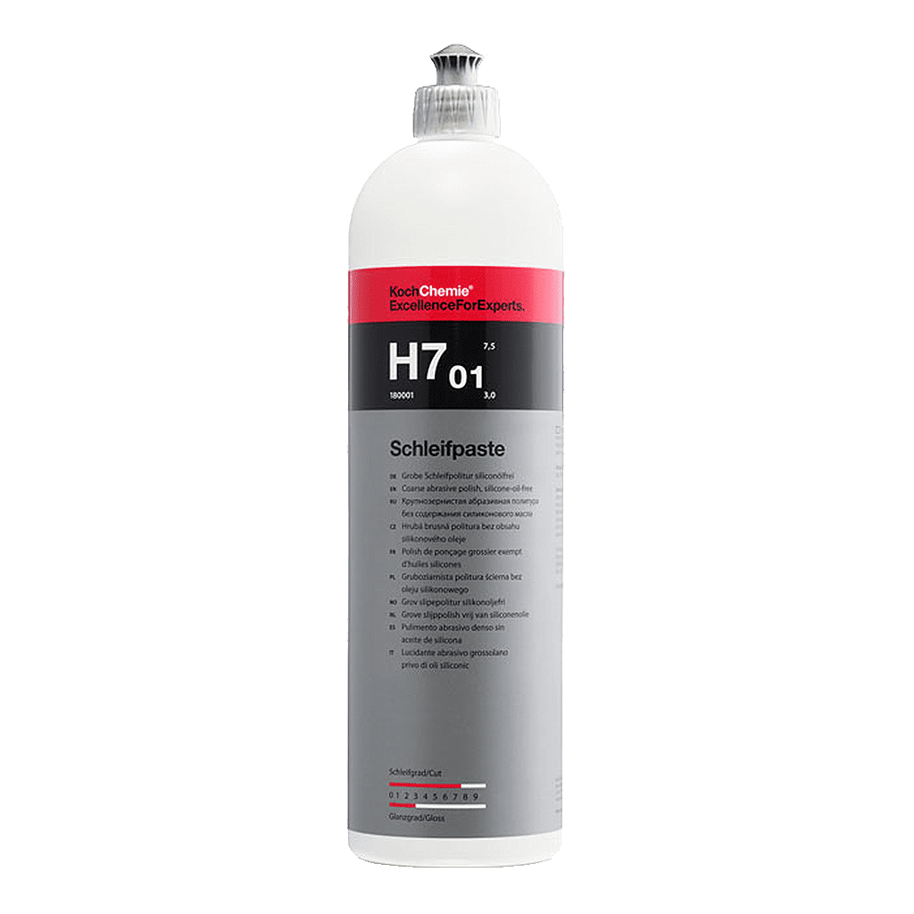 Eine Flasche Koch Chemie H7.01 Grobe Schleifpolitur siliconölfrei in der 1l Flasche