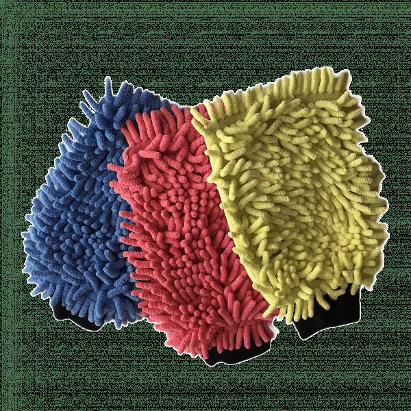 Deutsche Autopflege Profi Mikrofaser-Waschhandschuh 3 Farben mit zwei Aktiv-Seiten. Besonders hohe Schmutzaufnahme mit Autoshampoo in der Handwäsche und Autoaufbereitung