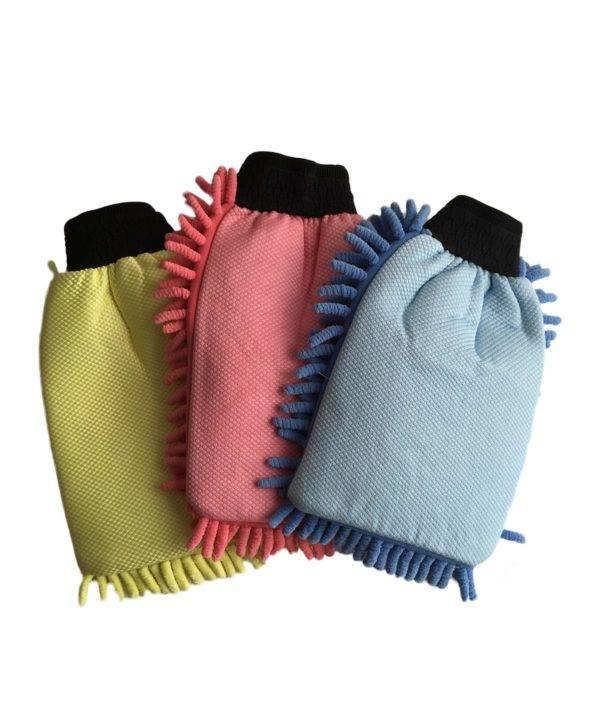 Bild von 3 x Wasch-Handschuh (blau, rot, gelb) Komplettset Rückansicht