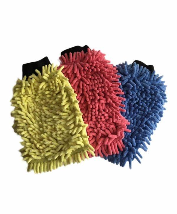 Bild von 3 x Wasch-Handschuh (blau, rot, gelb) Komplettset